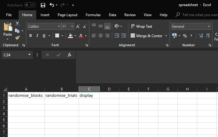 Image of Default example Spreadsheet opened in Excel