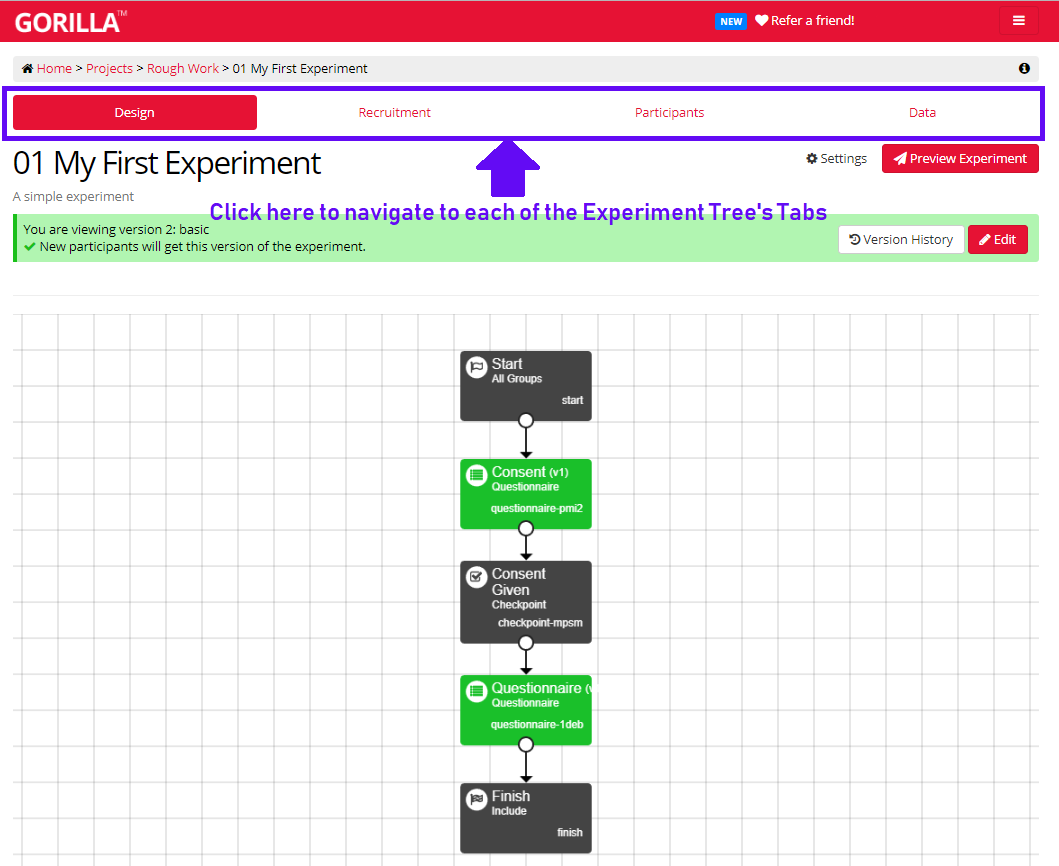 Image of Design Tab of Experiment Tree