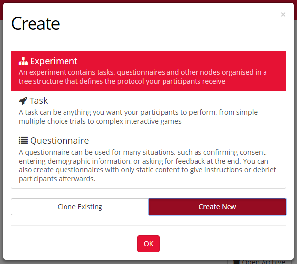 image of creating new experiment menu