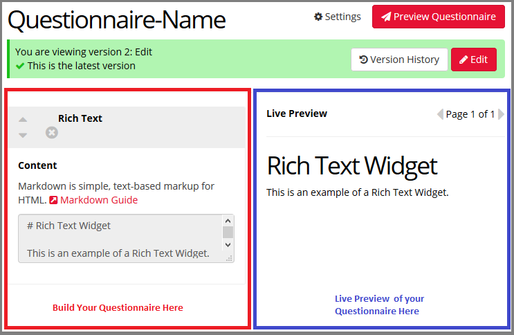 Image of Questionnaire Builder Interface